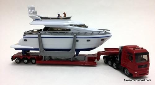 SIKU 1:87 MAN Tractor w/ Lowboy and Yacht Load