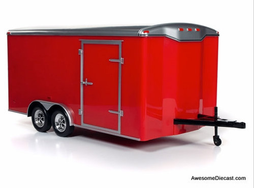 Autoworld 1:18 Four Wheel Enclosed Trailer, Red