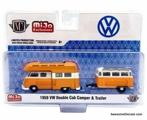 M2 Machines MiJo 1:64 1959 Volkswagen  Double Cab Camper & Trailer, Orange