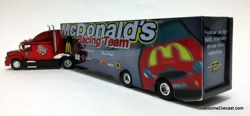 Racing Champions 1:64 NASCAR  Ford LN9000 w/ Car Transporter Trailer: McDonalds Racing Team, Bill Elliot