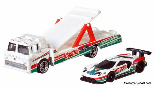 Hot Wheels 1:64 2016 Ford GT Race Car w/Ford C-800 Car Transporter: Castrol Racing