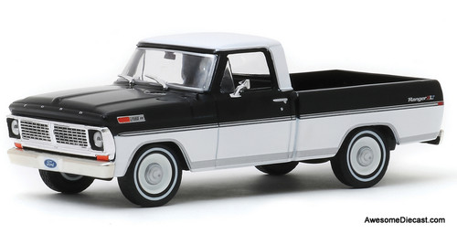 Greenlight 1:43 1970 Ford F-100 Ranger Pick Up, Black/White