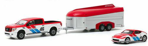 Greenlight 1:64 2019 Nissan Titan XD PRO-4X & 2019 Nissan 370Z w/Aerovault MK11 Trailer