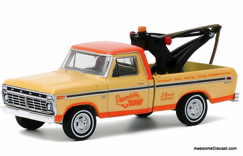 Greenlight 1:64 1973 Ford F-100 Tow Truck: Blue Collar Collection