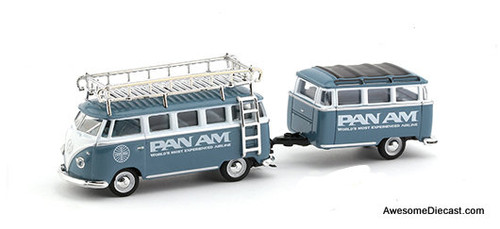 M2 Machines 1958 Volkswagen Microbus 15 Window w/Trailer: Pan Am