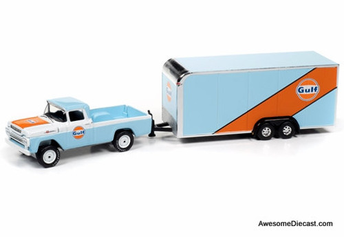 Johnny Lightning 1:64 1959 Ford F-250 w/Enclosed Car Trailer: Gulf Oil