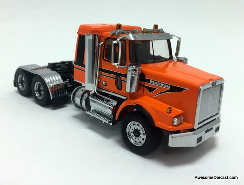 Diecast Masters 1:50 Western Star 4900SB Sleeper Tandem Tractor, Metallic Orange
