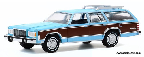 Greenlight 1:64 1980 Mercury Grand Marquis Colony Park Wagon, Light Cadet Blue