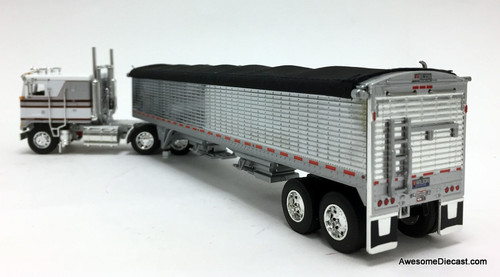 DCP by FG 1:64 Kenworth K100 COE Flat Top Sleeper w/Wilson Pace Setter High Sided Chrome Grain Trailer