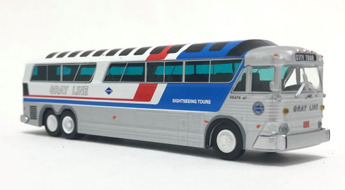 Iconic Replicas 1:87 MCI MC-7 Coach: Gray Line Sightseeing w/ Vista Roof