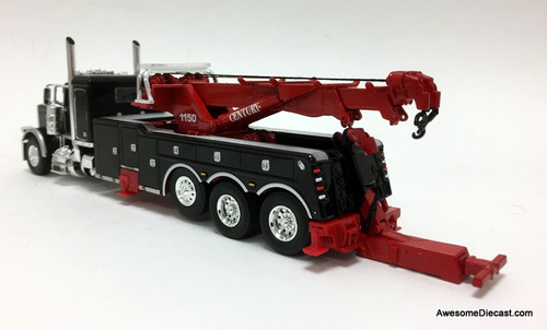 "DCP by FG 1:64 Peterbilt 389 36"" Sleeper w/Century  Rotator Tri-axle Wrecker, Black"
