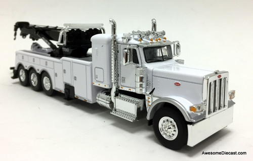 "DCP by FG 1:64 Peterbilt 389 36"" Sleeper w/Century  Rotator Tri-axle Wrecker, White"