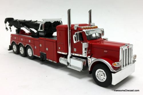 "DCP by FG 1:64 Peterbilt 389 36"" Sleeper w/Century  Rotator Tri-axle Wrecker, Red"