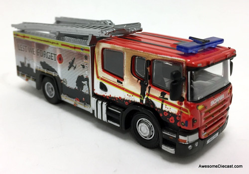 Oxford 1:76 2018 Scania P360 Fire Truck: Humberside Fire & Rescue (Remembrance Day Livery)