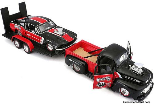 Maisto 1:24 1948 Ford F1 Street Rod Pick Up w/1967 Ford Mustang Dragster