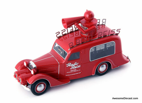 AutoCult 1:43 1929 Steyr XX  Verkaufswagen (Sales Car): Radio Reiss TV/Radio Station