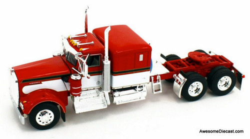 "DCP by FG 1:64 Kenworth W900A 60"" Flat Top Sleeper w/Fontaine Magnitude Lowboy  Tri Axle  Trailer w/ Flip Axle & Jeep"