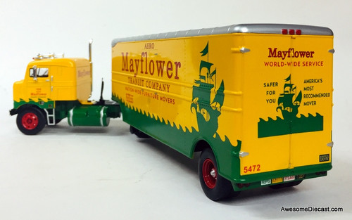 Iconic Replicas 1:43 1955 Kenworth Series 500 Bullnose Tractor w/Moving Trailer: Mayflower Van Lines