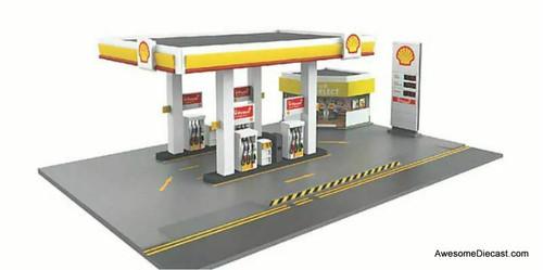 Tiny 1:64 Shell Petrol Station w/Figures