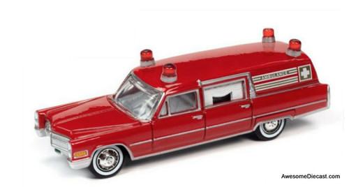 Johnny Lightning 1:64 1966 Cadillac Ambulance, Red