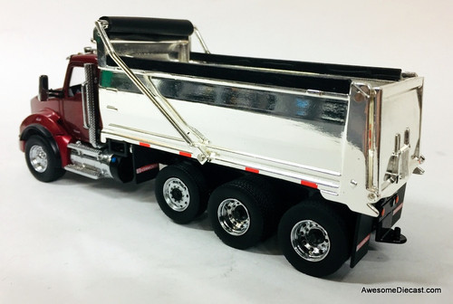 Diecast Masters 1:50 Kenworth T880 SBFA Dump Truck, Metallic Red/Chrome