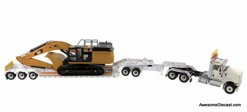 Diecast Masters 1:50 International HX250 Tandem Day Cab w/XL 120 HDG Lowboy Trailer And CAT Caterpillar 349F L XE Hydraulic Excavator