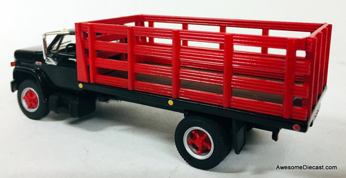 First Gear 1:64 GMC 6500 Single Axle Stake Truck, Black/Red
