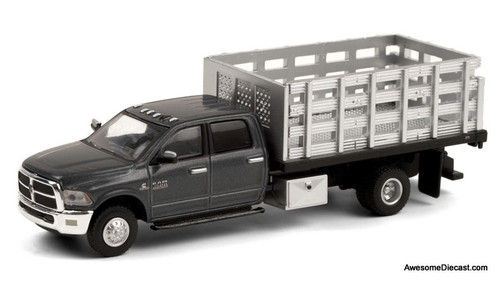 Greenlight 1:64 2018 Dodge Ram 3500 Stake Truck, Metallic Gray