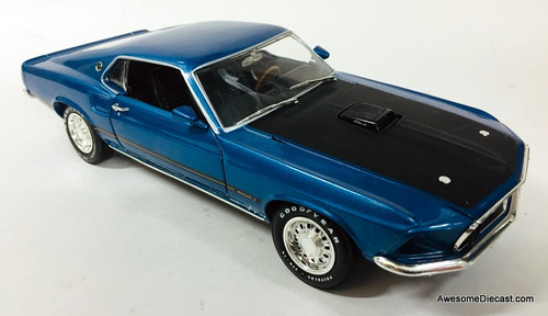 American Muscle 1:18 1969 Ford Mustang Mach 1, Metallic Blue
