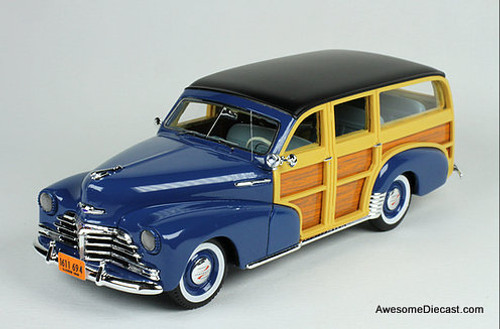 Goldvarg Collection 1:43 1948 Chevrolet Fleetmaster Woodie, Cuomo Blue