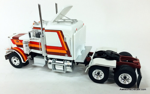 IXO 1:43 1973 Peterbilt 359 Sleeper Cab Tractor, White/Custom