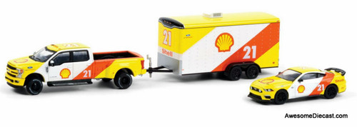 Greenlight 1:64 2019 Ford F-350 & 2021 Ford Mustang Mach 1 w/Enclosed Car Hauler
