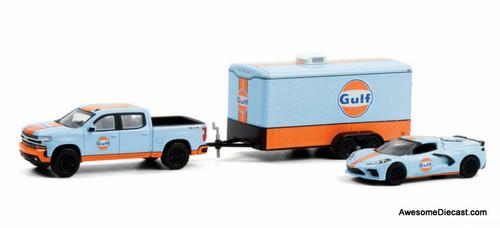 Greenlight 1:64 2021 Chevrolet Silverado & 2021 Chevrolet Corvette C8: Gulf Oil