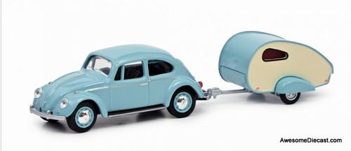 Schuco 1:64 1970 Volkswagen Beetle w/ Teardrop Caravan Trailer
