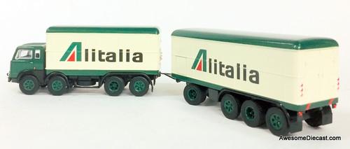 Brekina 1:87 Fiat 690 Millepiedi w/Pup Trailer: Alitalia Airlines