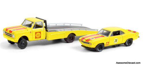 Greenlight 1:64 1967 Chevrolet C30 Ramp Truck & 1969 Chevrolet Camaro