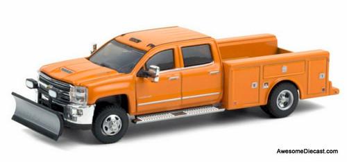 Greenlight 1:64 2018 Chevrolet Silverado 3500HD Service Truck, Orange: Snow Plough