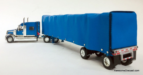 DCP by FG 1:64 International  Lonestar Midroof Sleeper w/53' Utility Roll Tarp Spread Axle Trailer, Blue