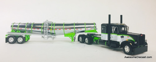 DCP by FG 1:64 Peterbilt 359 Sleeper Cab w/Polar Deep Drop Chrome Tanker Trailer, Black/Lime