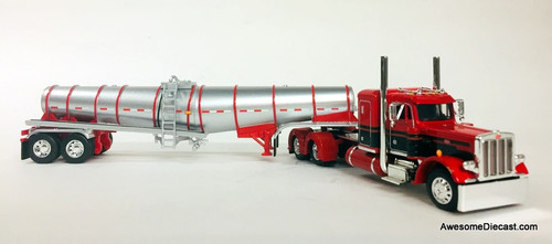 DCP by FG 1:64 Peterbilt 359 Sleeper Cab w/Polar Deep Drop Silver Tanker Trailer, Red/Black