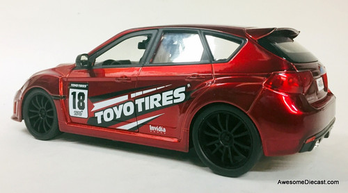 Jada 1:24 2012 Subaru Impreza WRX ST1, Candy Apple Red: Toyo Tires