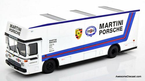 Schuco 1:43 Mercedes Benz 0137 Race Car Transporter: Martini Porsche