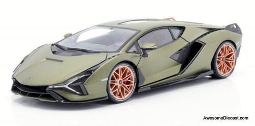 Burago 1:18 2020 Lamborghini Sian FKP 37, Metallic Green