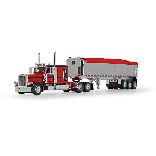 "DCP 1:64 Peterbilt 389 w/ 63"" Sleeper & MAC Trailer: Red/Black Cab"