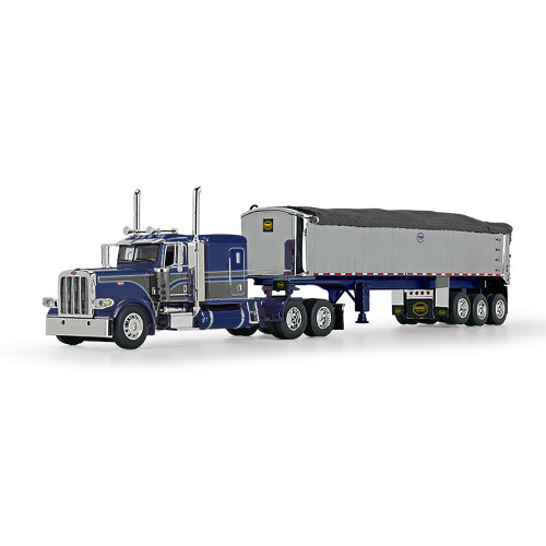 "DCP 1:64 Peterbilt 389 w/ 63"" Sleeper & MAC Dump Trailer: Blue / Gun Metal Gray"