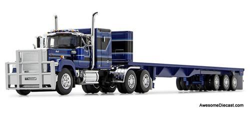 DCP by FG 1:64 Mack Super Liner Sleeper Cab w/Flatbed Trailer, Blue/Black