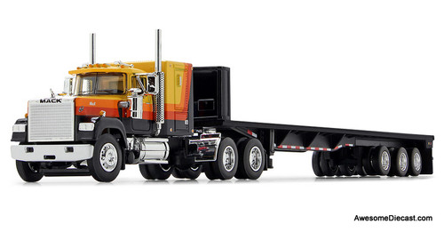DCP by FG 1:64 Mack Super Liner Sleeper Cab w/LowboyTrailer, Black/Orange