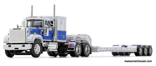 DCP by FG 1:64 Mack Super Liner Sleeper Cab w/LowboyTrailer, White/Blue