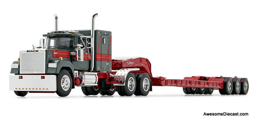 DCP by FG 1:64 Mack Super Liner Sleeper Cab w/LowboyTrailer, Gun Metal/Red