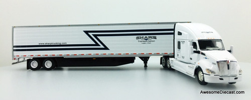 "DCP 1:64 Kenworth T680 76"" High Roof Sleeper Cab w/53' Refrigerated Trailer: Sharp Transportation"